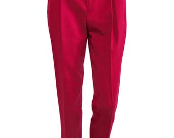 GUCCI Red Tailored Wool Pants Pleat Front Trousers Gold Logo Monogram Belt Plate sz IT 40