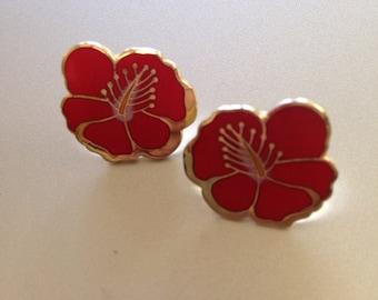 Laurel Burch Red Hibiscus Flower Earrings