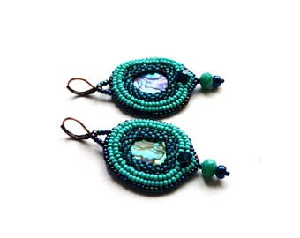 Blue green Paua mother of the pearl earrings Nacre bead embroidered jewelry Peacock look Beadwork earrings Hand embroidery Gift Idea for her