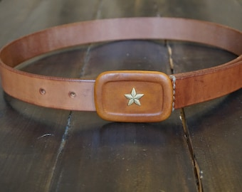 Swiss Army belt with rank star insignia buckle