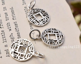 2 pcs coin charms pendants in oxidized sterling silver, JT1