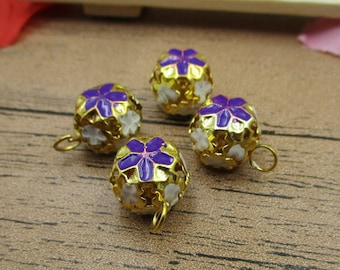 8 Enamel Bell Charms,Bell Pendant,Purple Color-RS294