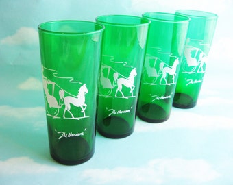 """Drinking Glasses, Gay Nineties by Anchor Hocking,""""The Hansom"""", forest green tumblers, Set of 4 equestrian, horse lovers gift, photo prop"""