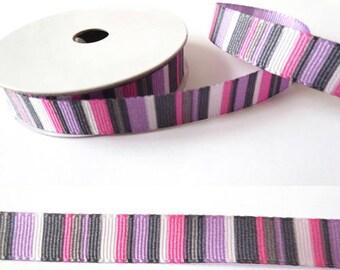 2 m x fancy 10mm purple striped grosgrain Ribbon