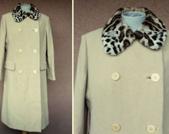 1960's Leopard Wool and Fur Collar Coat