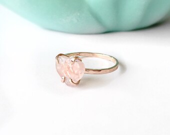 Rose Quartz Engagement Ring, Rose Quartz Ring, 14Karat Solid Gold Ring, Rose Quartz Jewelry, Rose Gold Ring, Gold Engagement Ring