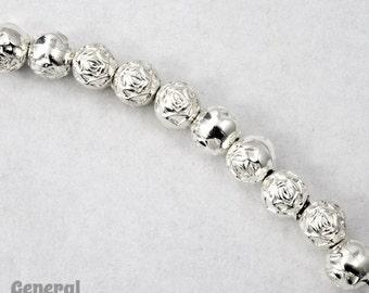 6mm Bright Silver Rose Bead #MPB015
