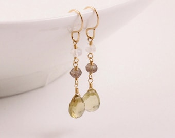 Lemon Quartz Earrings, Smoky Quartz Earrings, Rainbow Moonstone Earrings, Yellow Brown White Gemstone, June Birthstone, Gold Filled - Selene