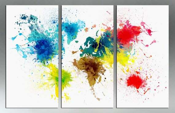 Colorful abstract art world map canvas print 3 panel split colorful abstract art world map canvas print 3 panel split triptych color splashes for wall decor home or office interior design gumiabroncs Image collections