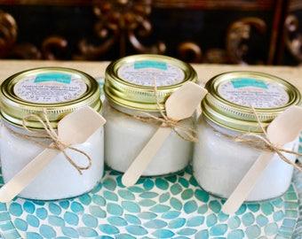 Dreamy Orange Sugar Scrub - All Natural Ultra Hydrating Scrub - Orange & Lavender One 8 oz Glass Mason Jar - Wedding Favors Bridesmaid Gifts