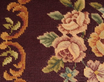 Antique Petite Point Burgundy Roses Needlepoint Chair Covers,
