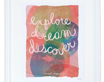 Mark Twain Quote Print, Quote Wall Art, Book Art Print, Friendship Gift, Explore, Dream, Discover, Meera Lee Patel