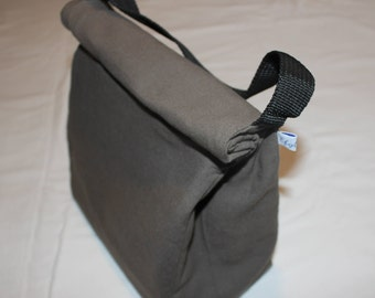 Taupe cotton lunch bag lined with a waxed canvas