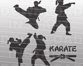 Karate Martial Arts Girl SVG File Cutting Template-Clip Art for Commercial & Personal Use-vector art file Cricut,SCAL,Cameo,Sizzix,Pazzles