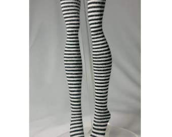 Dolls stockings for Monster high doll  Black and white stripes  MH020