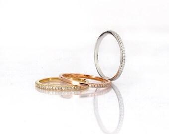 handmade half eternity wedding band, Diamonds wedding band, 14K Gold, classic wedding ring  total 0.25 carat diamonds .