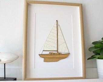 Sailboat Decor, Custom Name, Nautical Decor, Boat Blueprint, Laser Cut Wood, Nautical Wall Art, Custom Wall Art, Seaside Decor, 8x10 or A4