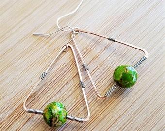 Triangle & Green Howlite Bead Dangle Earrings