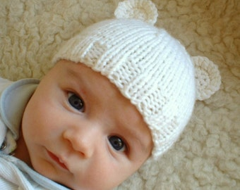 Baby bear hat beanie hand knit creamy white wool custom sizes 0-3 3-6 months boy girl unisex choose colour