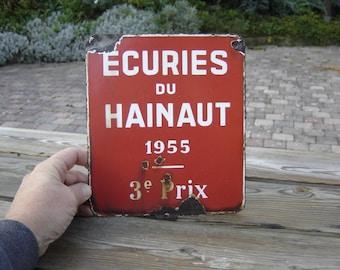 Plaque émaillée agricole écuries Hainaut. Vintage. Equitation. Belgique