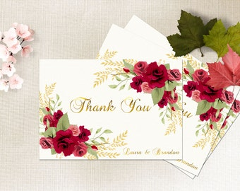 Thank You Card Printable Boho Floral Thank You Card Red Rose Romantic Floral Wedding Card Bridal Thank You Card Instant Digital Download