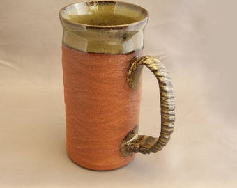 Mugs, Large Mugs, Stoneware Mugs, Pottery Mugs, Partially thrown, Handmade, Partially extruded, Drinkware, Hand Sculpted