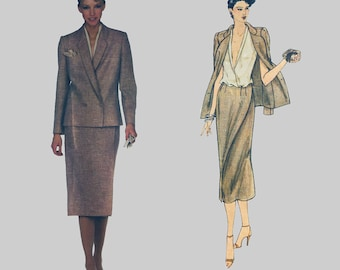 1970s Skirt and Jacket Pattern Vogue American Designer 2219 John Anthony Deep V front wrap blouse Straight skirt Size 14 Bust 36 inches