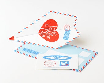 DIY Paper Airplane Valentines / Anniversary Card Kit