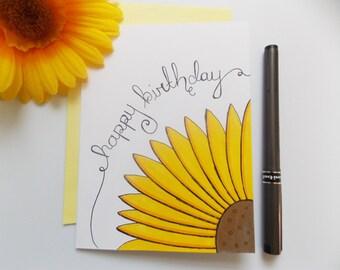Birthday Card  - Yellow Sunflower  Card - Script Birthday Card - Birthday Card For Her - Simple Birthday Card - Cute Birthday Card