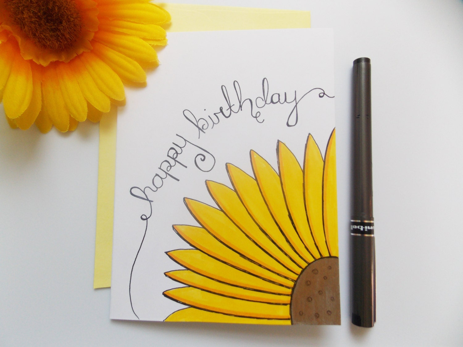 Birthday card yellow sunflower card script birthday card zoom bookmarktalkfo Image collections