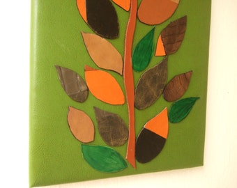 Autumn Leaves original mixed media collage wall art