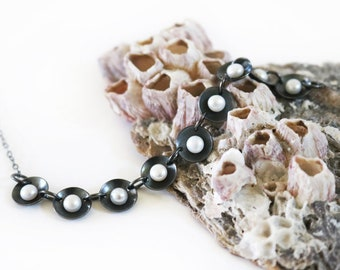 Nine Freshwater Pearls Necklace in Oxidized Silver