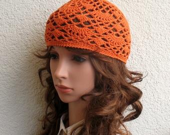 Women's Crochet Summer boho hat Girls summer hat Orange summer skull hat 100% soft cotton tams hat tight Women's Summer Cotton beret