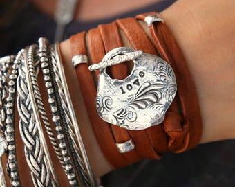 Leather Boho Bracelet, Leather Bohemian Bracelet, Bohemian Leather Wrap Bracelet, Boho Bracelet, Bohemian Jewelry Boho Chic Fashion Wrap