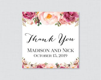 Printable OR Printed Wedding Favor Tags - Rustic Pink Floral Square Favor Tags for Wedding, Personalized Wedding Thank You Tags 0004