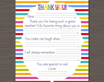 Teacher thank you etsy teacher appreciation printable kids letter thecheapjerseys Gallery