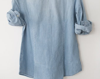 Hand Embroidered Chambray Denim Shirt - Horse Show Shirt - Addicted to Greys - Equestrian Style - Chambray Denim Shirt
