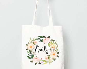 Personalized Canvas Tote Bag, Watercolor Flower Wreath