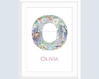 Letter O Art Print Owl Painting Custom Name Art Oven Print Octopus Painting Christening Gift Nursery Illustrated Alphabet Art Daisy Ocelot
