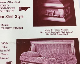 Casket Ad Gay and Son Vintage Funeral Ephemera Death Mortician Embalming Johnstown PA Rare Beauty