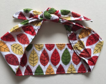 Autumn Leaves Ladies Headband Self Tie Headband Messy Bun Headband Ladies Hair Wrap 1950s Headband Reversible Headband Topknot Headband