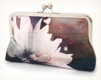 Clutch bag, silk purse, white petals, bridesmaid gift, gift box, ETHEREAL FLOWER