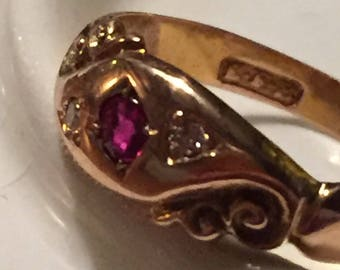 ruby and diamond gold victorian ring