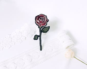 rose patch,iron on patch,flower patch ,embroidered patch,patch for jacket