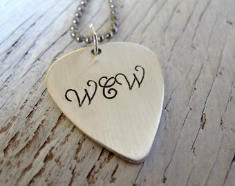Dad Guitar Necklace, Personalized Guitar Pick Necklace, Hand Stamped, Musician, Guitar Player