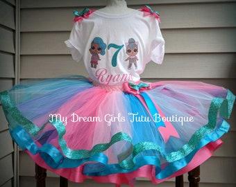 LOL surprise dolls birthday outfit, splash queen Lol doll tutu dress, Lol mermaid doll tutu costume, L.o.l dolls birthday present, merbaby