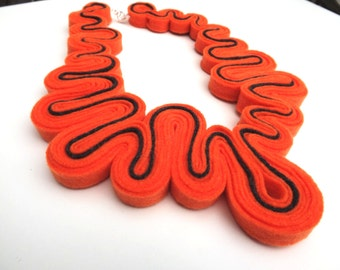 Felt Statement Necklace Ecofriendly Felt Necklace Felted Jewelry Recycled Bib Necklace In Neon Orange grey stripe