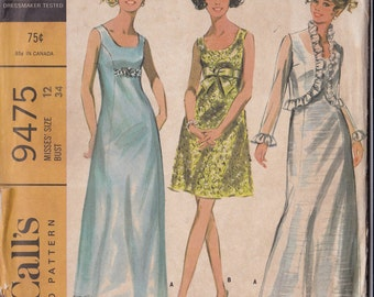 McCalls 9475  Vintage Pattern Womens Semi Fitted Dress In 2 Lengths And Matching Jacket Size 12 UNCUT