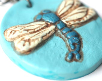 Turquoise Dragonfly Circle polymer clay pendant necklace original art by Cortney Rector Designs