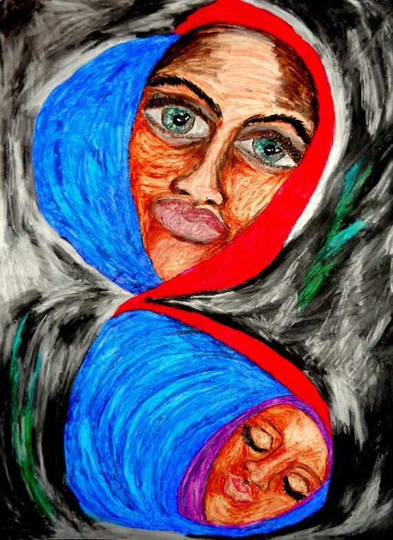 "INFINITE MADONNA - Oil Pastel Painting Portrait of Black Madonna on 24 x 18"" Mix Media Paper, by Outsider Folk Artist Stacey Torres"
